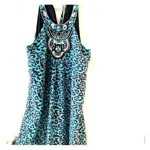 Funky Boho Hippie blue leopard dress